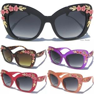 Floral Oversized Metal Flower Spring Sunglasses